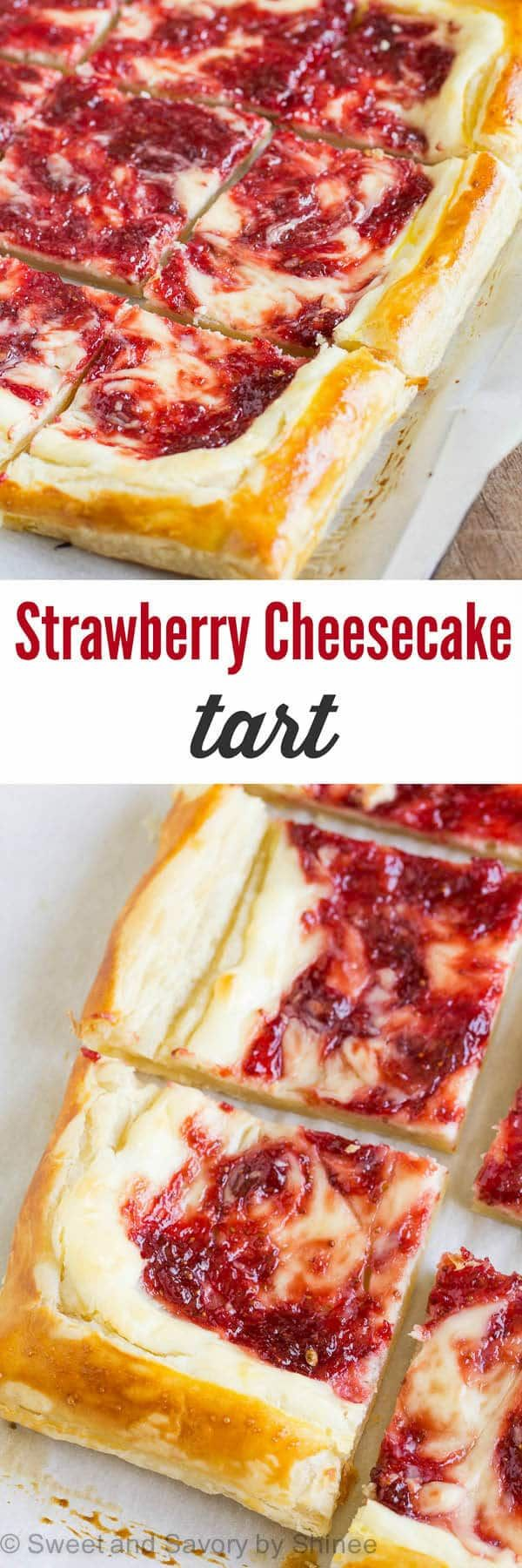 Quick and easy dessert with just 5 ingredients. This strawberry cheesecake tart is perfect to satisfy your sudden cheesecake cravings, or to treat unexpected guests.