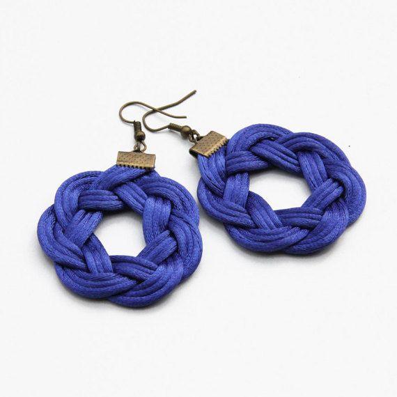Cobat blue knot satin rope earrings by SophiesKnotShop on Etsy