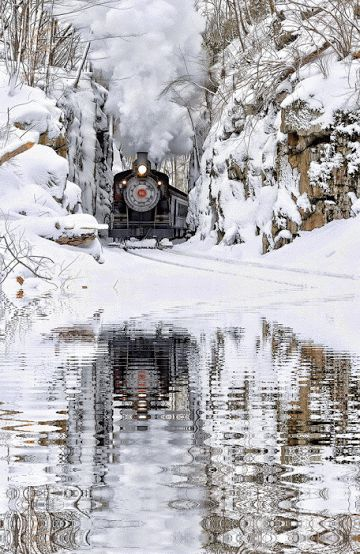 Winter train reflections...