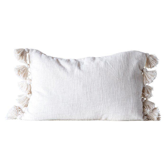 Bungalow Rose Jakob Woven Slub With Plush Tassels Cotton Lumbar Pillow Reviews Wayfair Throw Pillows Pillows Modern Throw Pillows