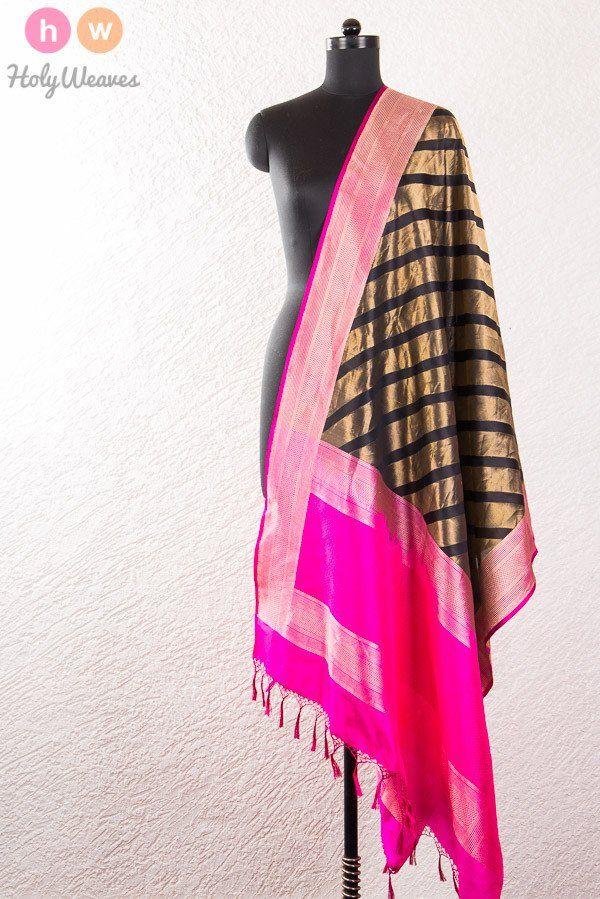 #Black #Handwoven #Katan #Silk #Banarasi #Brocade #Dupatta #HolyWeaves