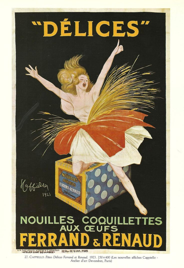 Vintage French Posters | , PASTA Ferrand et Renaud - Vintage French color advertisement poster ...
