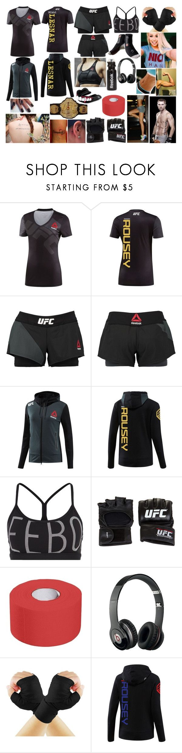 """UFC 189 vs Bryan Caraway"" by queennikkiufc ❤ liked on Polyvore featuring Reebok, UFC and Beats by Dr. Dre"