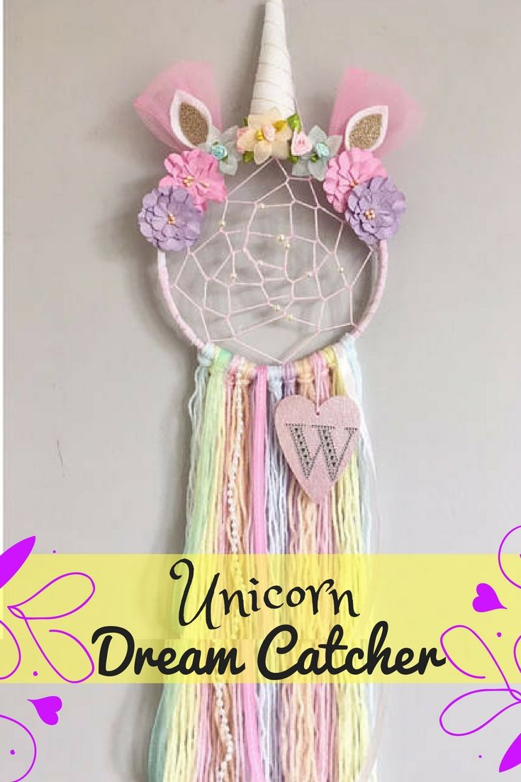 Make your little girls dreams come true, whilst catching the bad ones, with this one of a kind Unicorn Dream Catcher with extra added details of webbing, beads and the initial of your choice. | Nursery decor | Girls | baby | dream catcher | rainbow | unicorn | afflink