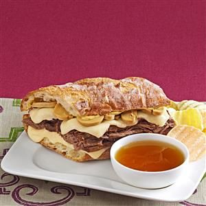 French Dip au Jus Recipe -I created this because so many French dip recipes seem bland or rely on a mix. The sandwich is simple to make and tastes better than a restaurant version. —Lindsay Ebert, Orem, Utah