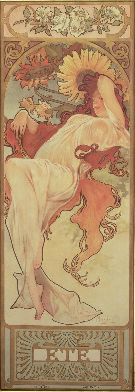 "Summer: 1897 by Alphonse Mucha from ""Seasons"" series - Art Nouveau                                                                                                                                                                                 More"