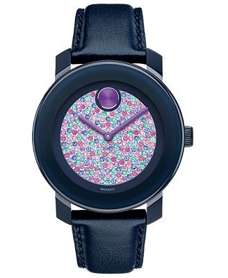 Movado Women's Swiss Bold Navy Leather Strap Watch 36mm 3600263