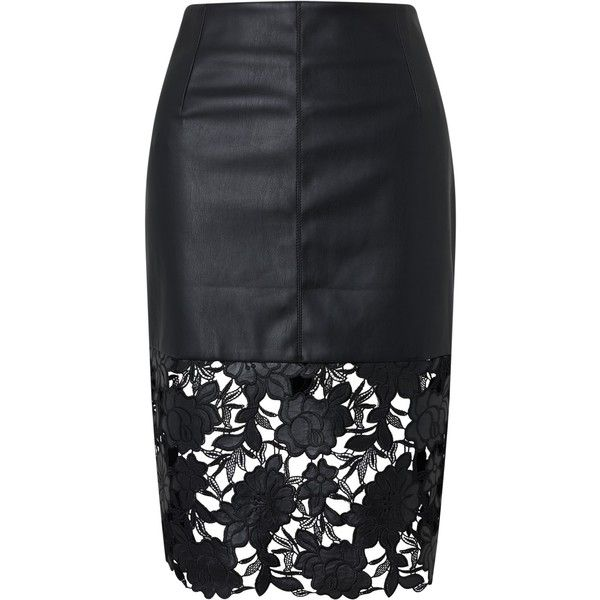 Darling London Suki Faux Leather Fitted Skirt, Black found on Polyvore featuring skirts, metallic skirt, imitation leather skirt, faux leather skirt, fitted skirts and pencil skirt