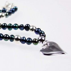 Small Grey Pearl and Silver Bead Necklace #silver #jewellery #modern #bride