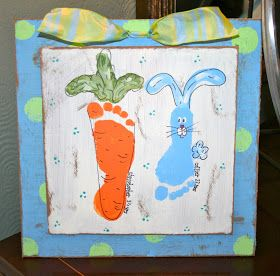 Cute Spring Easter footprint craft. This could be done for multiple Kids,