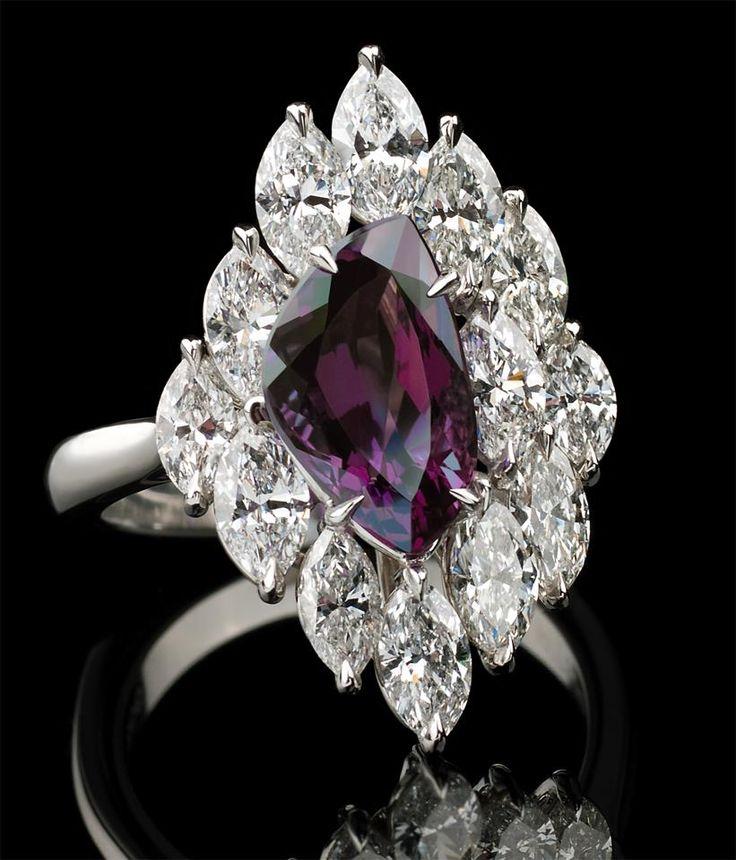 Richard Krementz Gemstones - Alexandrite and diamond ring.