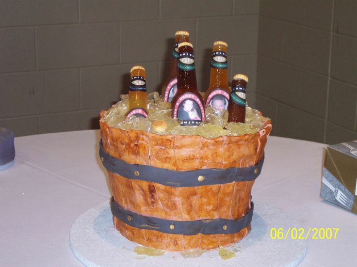 "Bucket of Beer cake - Well I  have to thank SweetResults, Patton78 and Kelly75 for all their help in getting me through this cake. I made this for my new son in law as his grooms cake. I put a sign up saying "" yes this is a real cake"" but people were poking their fingers at it per ""IndyDeb"" who catered the wedding. The cake was choc with choc icing and of course fondant planks, sugar bottles and ice. The labels were done online with pic's of my dd and sil. Everyone got a kick out of it..."