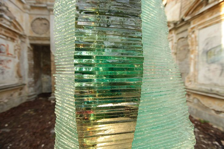 Fragment of a Layered Glass Sculpture Post Procella by Ernest Vitin