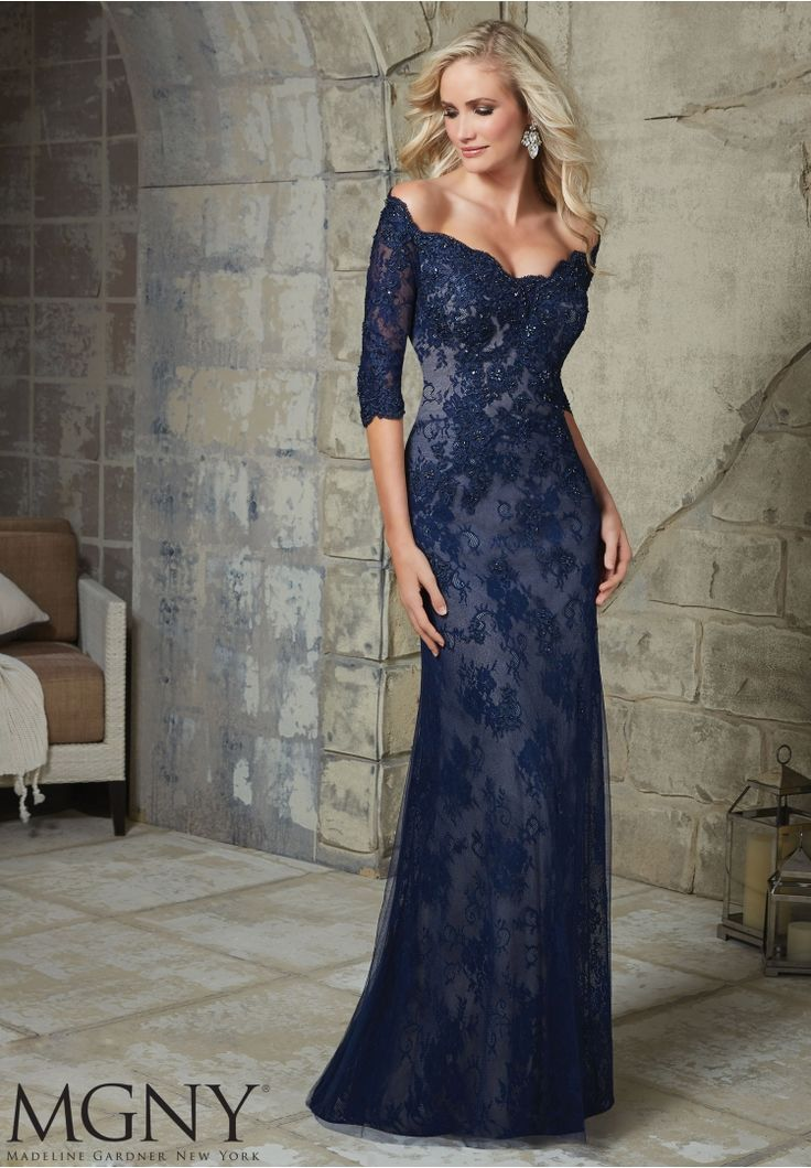 Evening Gowns and Mother of the Bride Dresses by MGNY Beaded Appliques on Net Over Chantilly Lace Available in Navy/Nude, Purple
