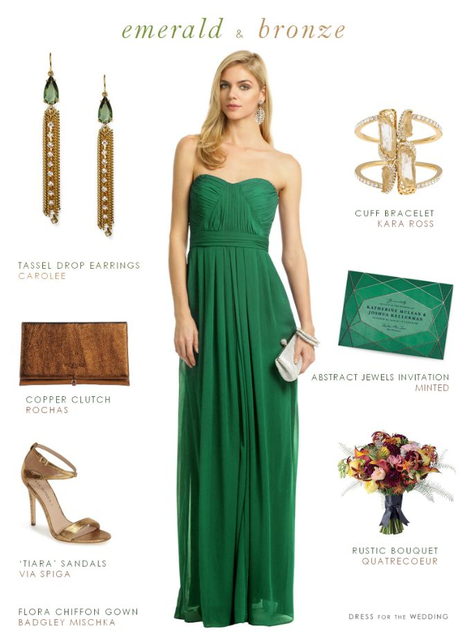 Emerald green chiffon gown with bronze + copper accessories for a look that suits a wedding guest or a bridesmaid.