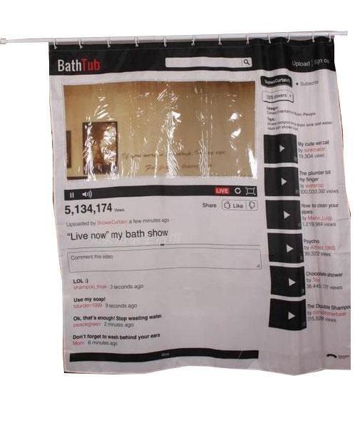 Polyester Youtube Waterproof Mildew Resistant Shower Curtain