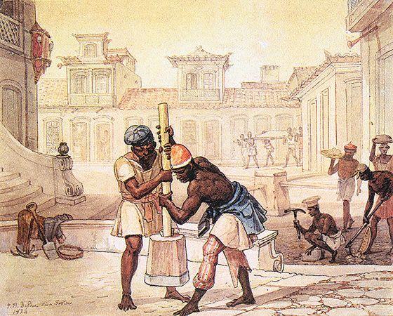 Calceteiros, 1824, aquarela sobre papel, 17,10 x 21,10 cm. Museus Castro Maya - IPHAN/MinC (Rio de Janeiro).