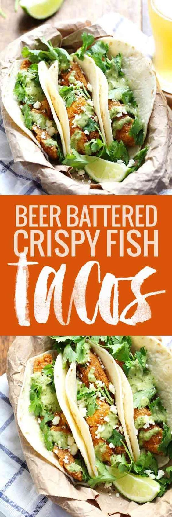 Crispy Fish Tacos with Jalapeño Sauce - lightly battered and fried fish served with a fresh spicy homemade sauce! simple and delicious.