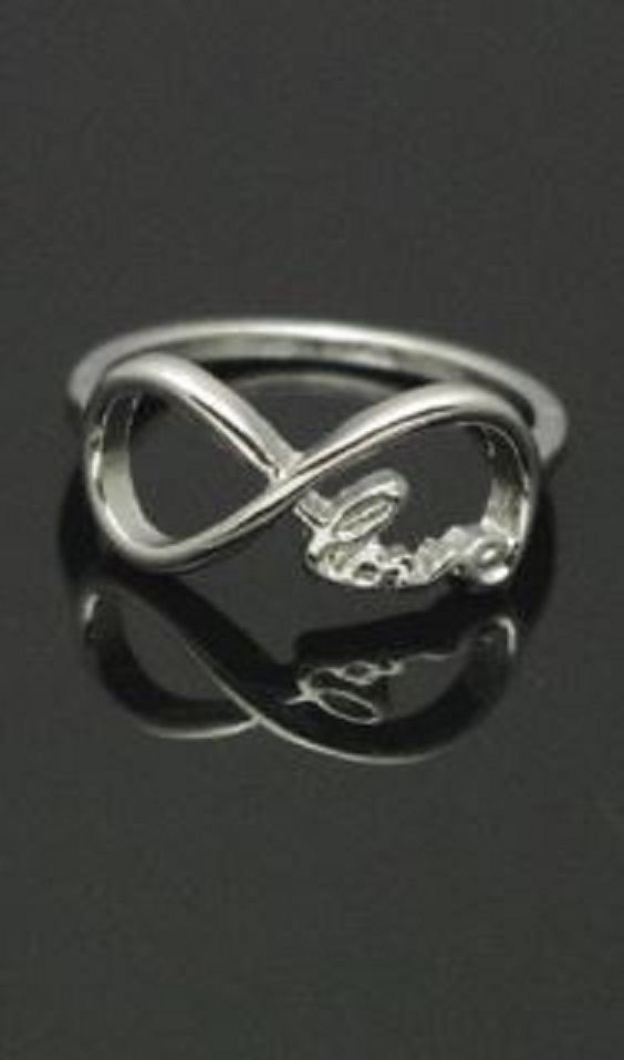 Delicate Silver Infinite Love Ring #Infinity #Symbol #Infinite #Love #Ring #Silver #Fashion #Jewelry #Romantic #Gift #Ideas
