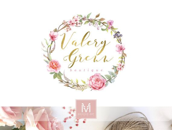 Floral Logo ,Romantic Logo, Watercolor Logo, Artisan Logo, Photography Logo, Boutique Logo ,Shabby Chic Logo, Watermark