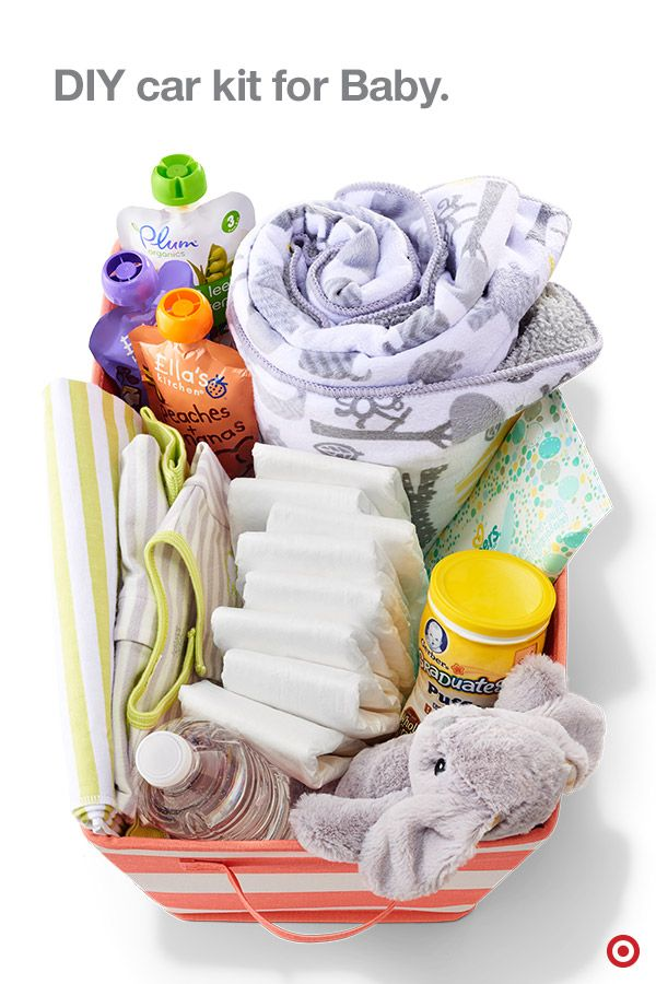 Be prepared for any Baby needs while on the road with a DIY car kit for Baby. Here's what you need to create this ultimate kit: a sturdy fabric bin (large enough to hold all the goodies), diapers, wipes, extra set of clothes, snacks, bottles, bottled water, formula singles, blankets, pacifiers and a few toys and books. Keep one in each car so you're ready when a diaper change, or hungry baby calls.