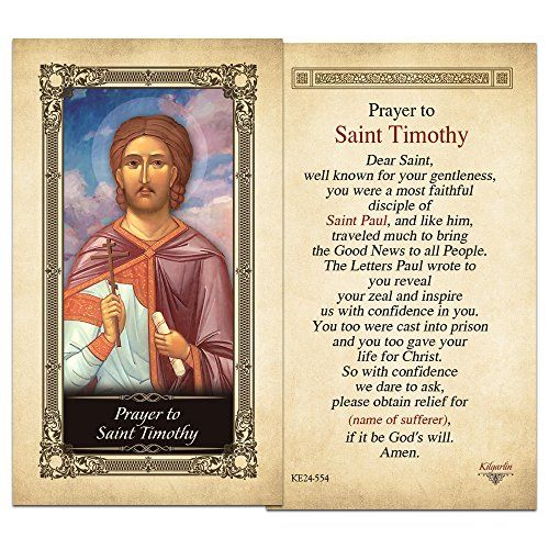 """Prayer to Saint Timothy Laminated Holy Card $1.01 Beautifully Laminated Holy Cards Size: 2.5"""" x 4.5"""" High Quality Prayer Cards"""