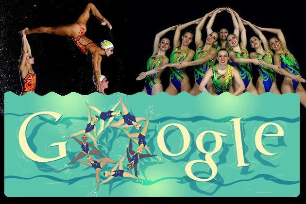 synchronized swimming | google banner london olympics 2012.