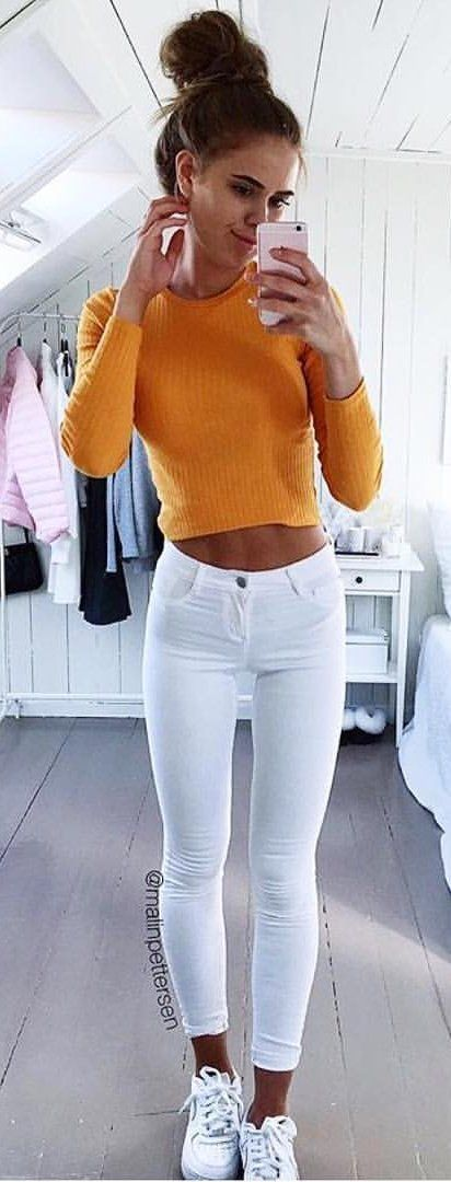 #summer #outfits Orange Crop + White Skinny Jeans + White Sneakers