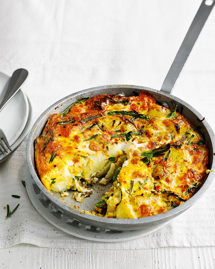 As this vegetarian frittata cooks, the mozzarella becomes melted and stringy. It's great for a quick, easy dinner but it's just as good eaten cold for lunch the next day.