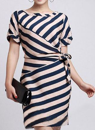 Stripe wrap dress fashion