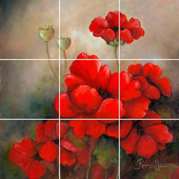 Poppies Tile Mural Back splash Kitchen Home Decor Red