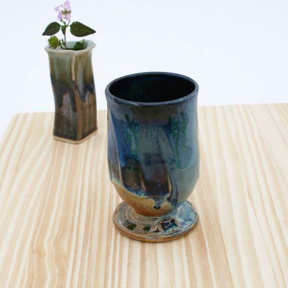Unique Hand Thrown Blue to Black Wine Glass 25 Ceramic Wine