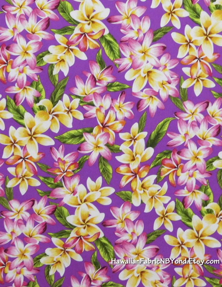 Fabric Plumeria flowers on a purple background. By