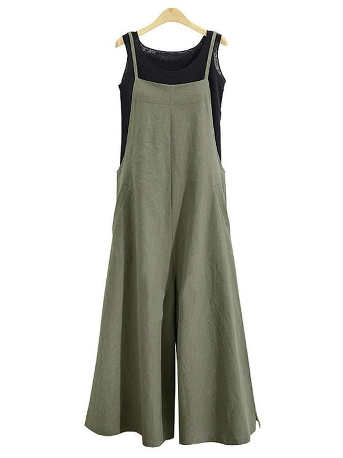 Women Casual Loose Solid Tank Jumpsuit 2