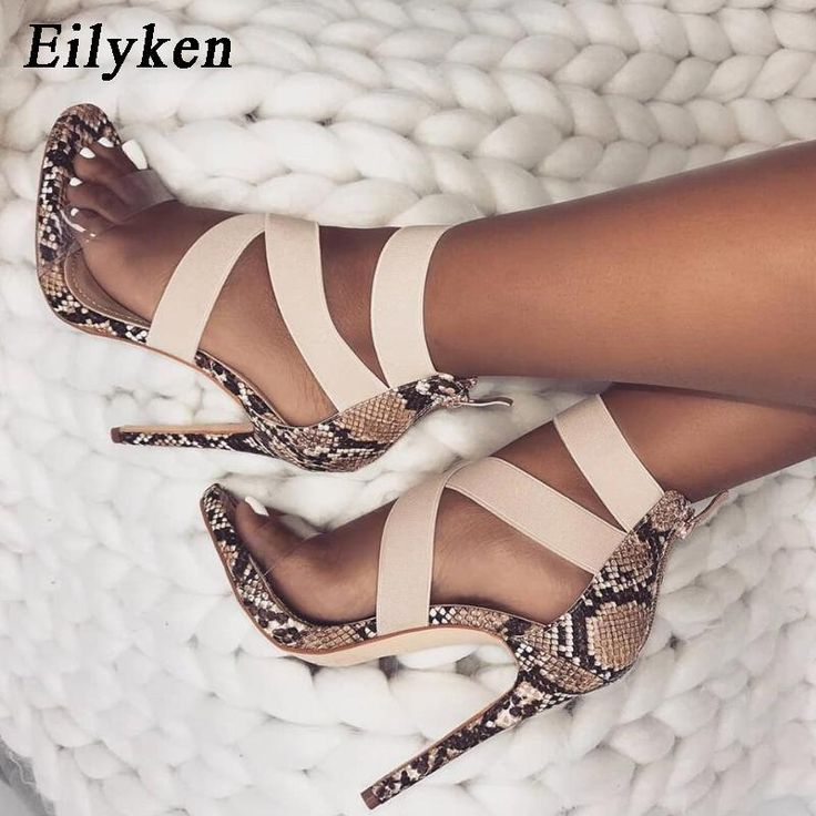 Eilyken Stretch Fabric Women Sandals Gladiator Ankle-Wrap High Heels Shoes Fashi…