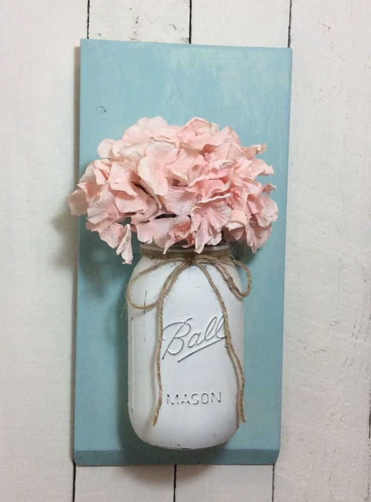 Mason jar wall mount sconce vase flower shabby chic