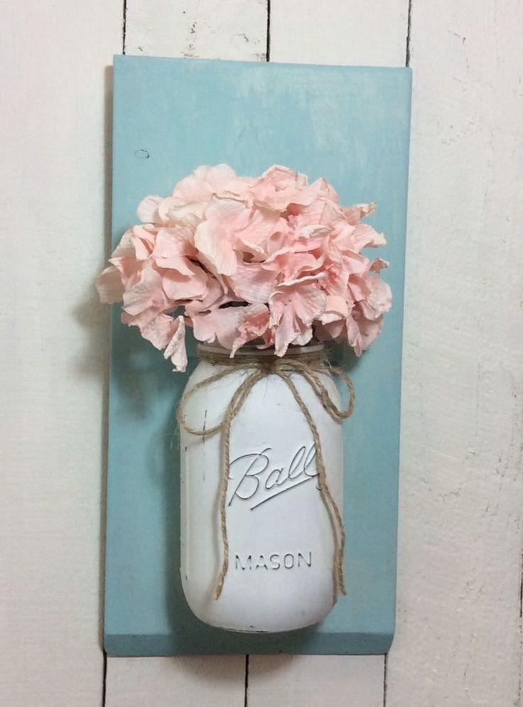 Wood Wall Mount Vase Jar Wall Hanging Painted Shabby Chic  | eBay