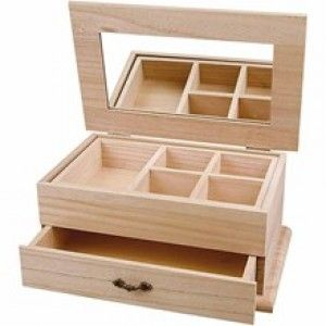 Plain Wooden Jewellery Box with Mirror, Removable Compartment & Drawer…