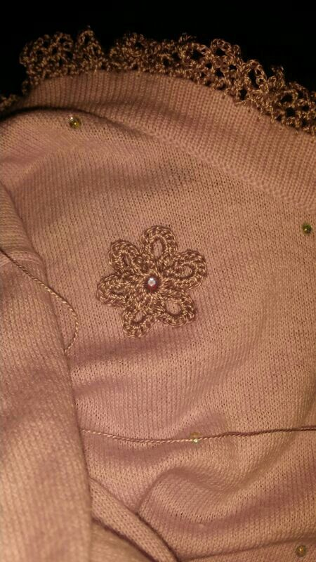 Also Irish crocheting some simple little flowers to zazz it up!  Still a work in progress