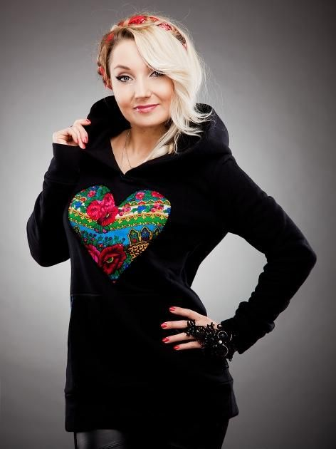 Cutted Heart Hoody Black #urbancity
