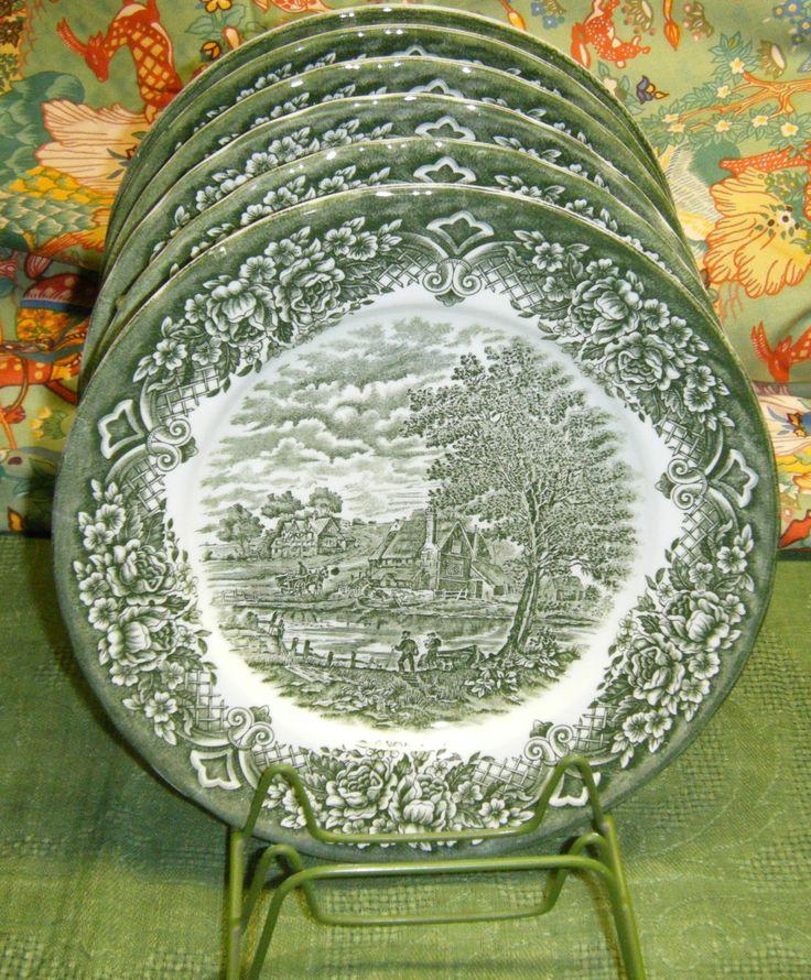 WH Grindley Green Homeland Dinner Plates Green Transferware Made in England | eBay