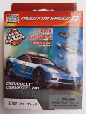 Mega Bloks Need for Speed Chevrolet Corvette ZR1 by Mega Bloks. $5.99. 1 buildable Chevrolet Corvette ZR1 police cruiser action scale (1:55) vehicle. 20 pieces. Buildable Need for Speed branded display stand. Compatible with all Need for Speed action scale accessories. From the Manufacturer                Kick some asphalt in the name of justice with the Need for Speed Chevrolet Corvette ZR-1 Police Cruiser by Mega Bloks. The heavily modified ZR-1 was built to push power a...
