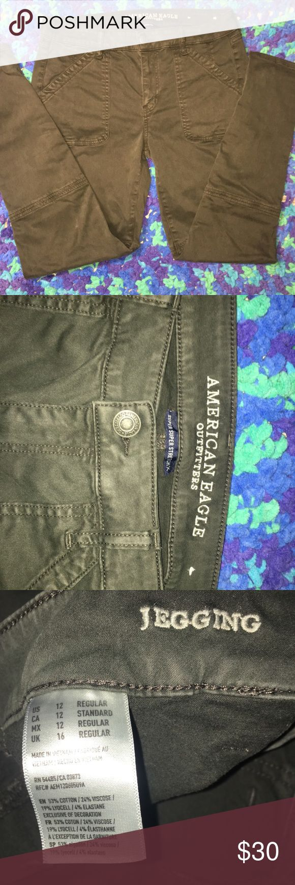 American Eagle jeggings Amazing moto style jeggings! Bought two pairs online  (others are for sale as well) and ended up not really liking the style on me. Washed and tried on ONLY. BRAND NEW W/OUT TAGS. 2nd picture does their color justice. More of a dark hunter green. American Eagle Outfitters Jeans Skinny