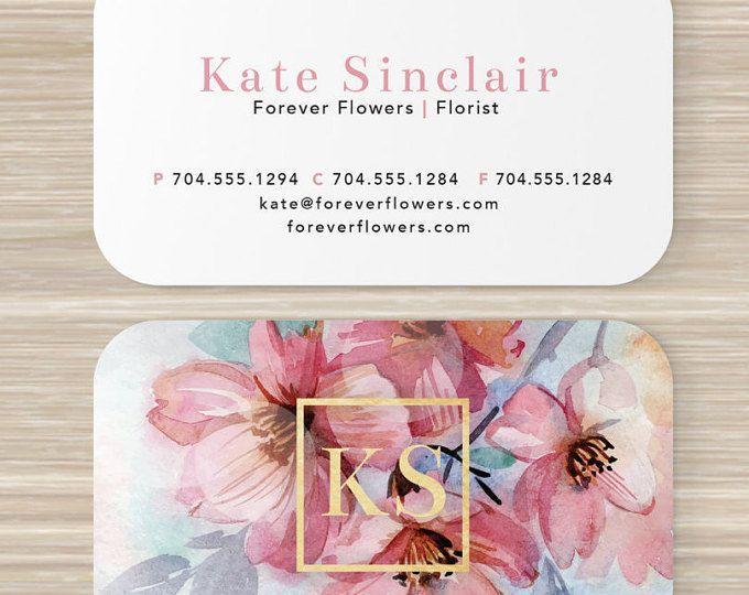 Tarjeta De Visita Floral Floreria Monograma Acuarela Colour De Rosa Flores Artista Maqu Florist Business Card Floral Business Cards Business Card Design