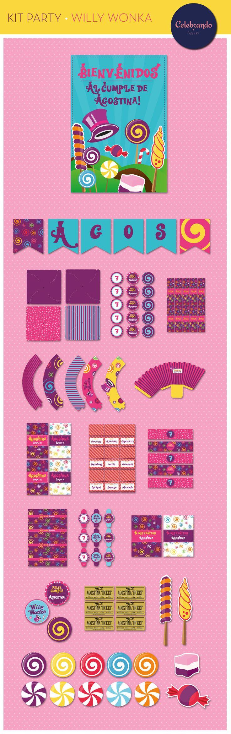 Kit imprimible Willy Wonka para niñas - Celebrando Fiestas