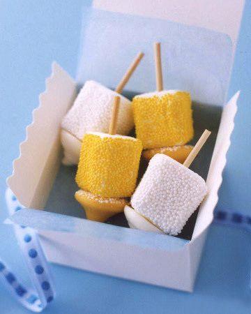 Marshmallow dreidels for Hanukkah