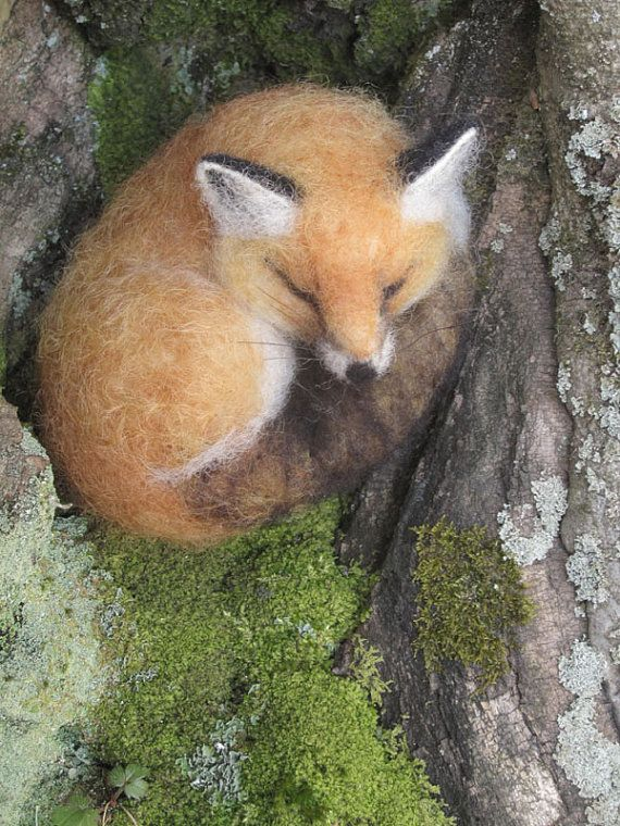 Needle felted sleeping fox, woodland animal