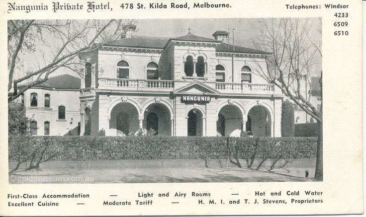 This week's #PostcardThursdays from the Gold Museum is The Nangunia Hotel at 478 St. Kilda Road - it still operates today as Hotel Charsfield. From this card you can appreciate its first class accommodation with hot and cold water and fine cooking! #ThrowbackThursday #History #Postcard