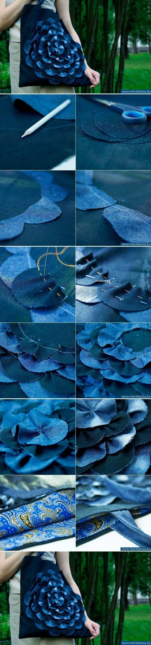 DIY Denim Flower Bag fashion flower denim. Great photo tutorial for upcycling denim.