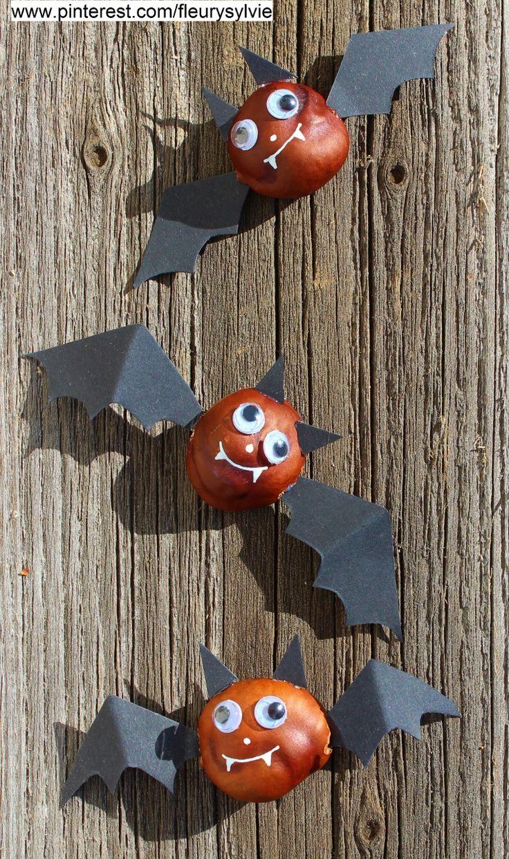 Bricolage Halloween pour les enfants: Chauves-souris avec des marrons !! http://pinterest.com/fleurysylvie/mes-creas-pour-les-kids/
